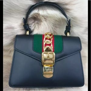 Authentic Gucci Sylvie Leather Mini Bag Black
